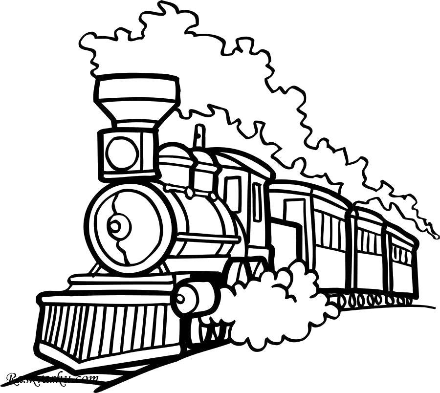 Раскраска Паровоз в дыму. для мальчиков