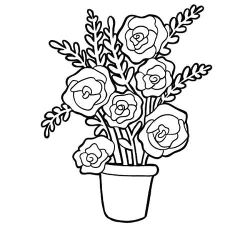 Раскраска  Розы и веточки. Скачать Цветы.  Распечатать Цветы