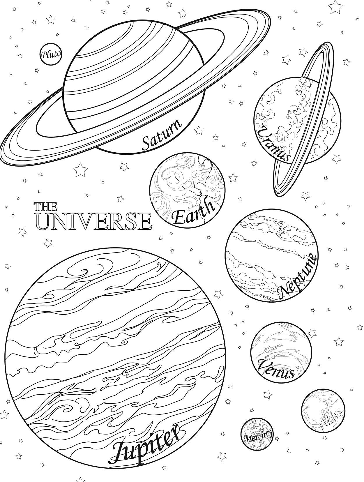 Раскраска  планеты. Скачать космос.  Распечатать космос