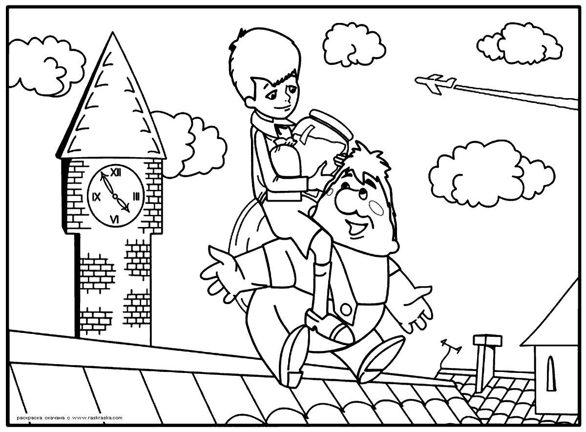 Раскраска  Малыш и Карлсон.  На шею не дави! Разукрашка Малыш и Карлсон для детей, скачай и распечатай бесплатно. Скачать карлсон.  Распечатать герои сказок