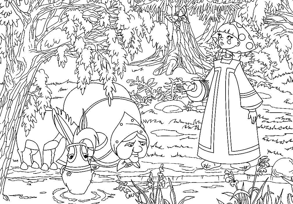 Раскраска Мультфильм Алеша опович и Тугарин Змей, Аленушка с Бабушкой пошли за Алешой.