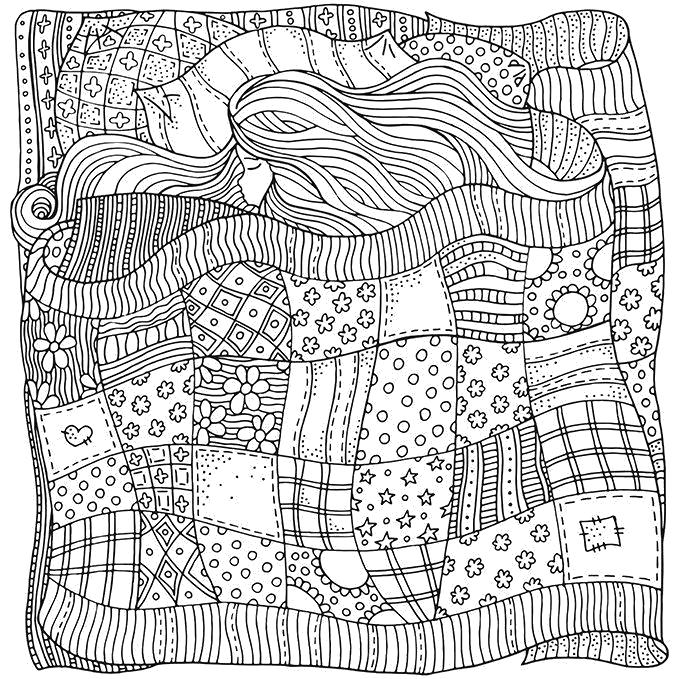 Раскраска спящая девочка. антистресс