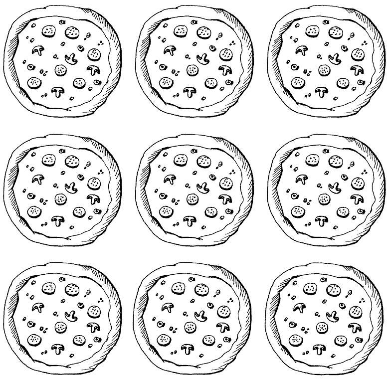 Название: Раскраска pizza. Категория: еда. Теги: пицца.