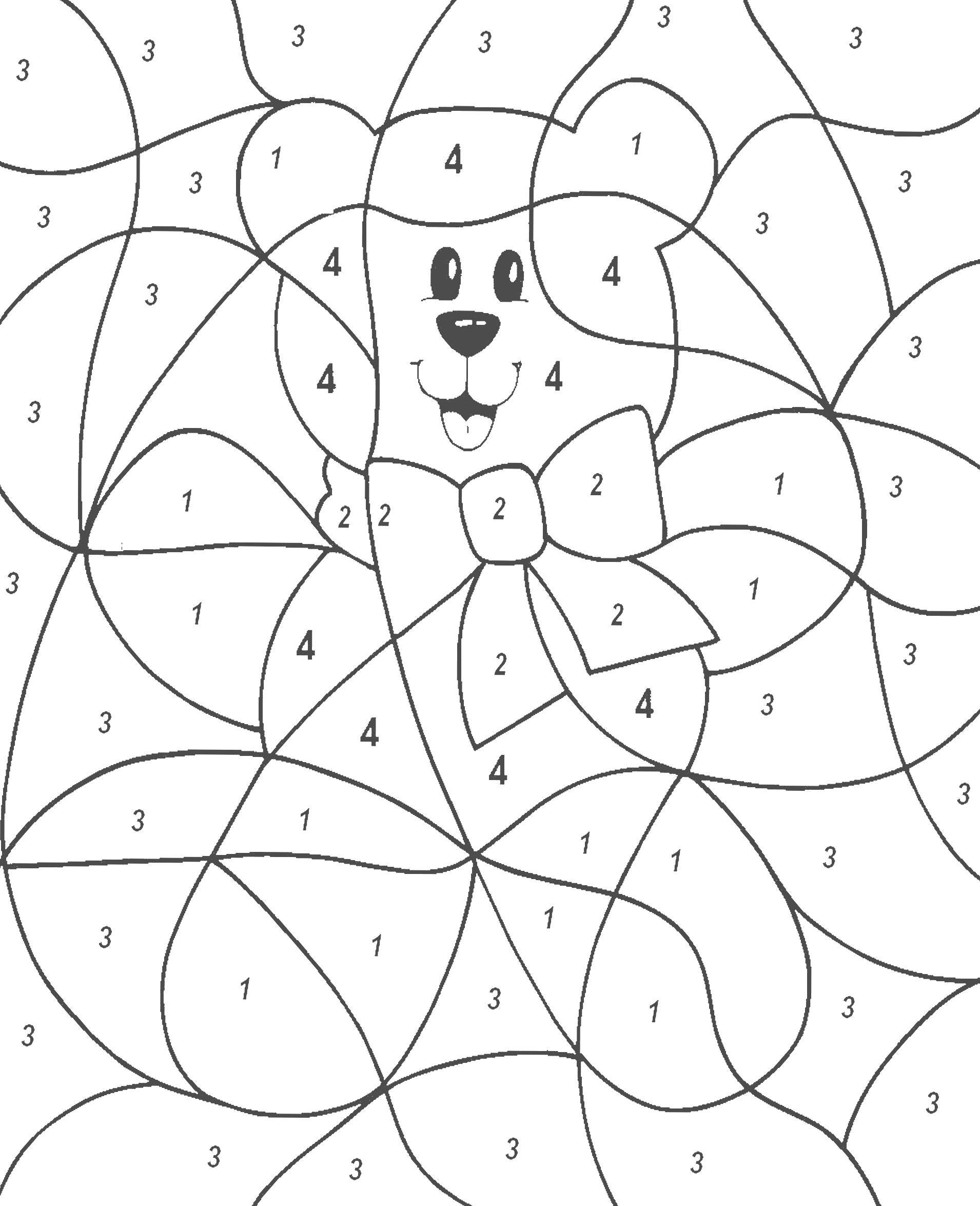"Раскраска  по номерам ""Мишка"". Скачать по номерам.  Распечатать по номерам"