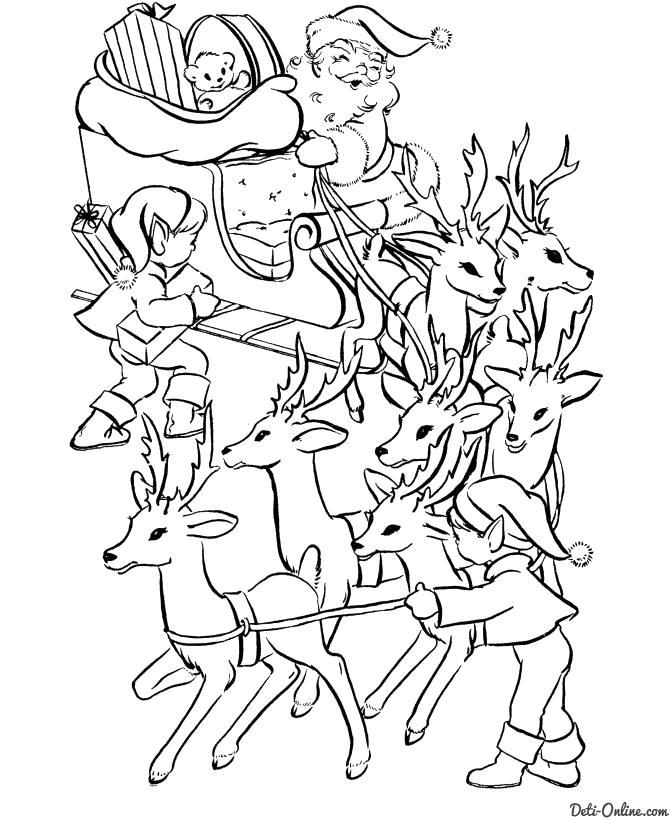 Раскраска  Эльфы помогают Деду Морозу. Скачать Рождество.  Распечатать Рождество