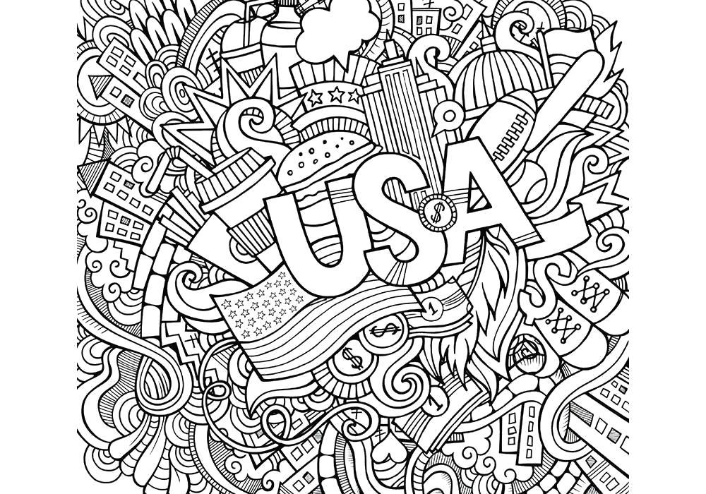 Раскраска  антистресс- США. Скачать антистресс.  Распечатать антистресс