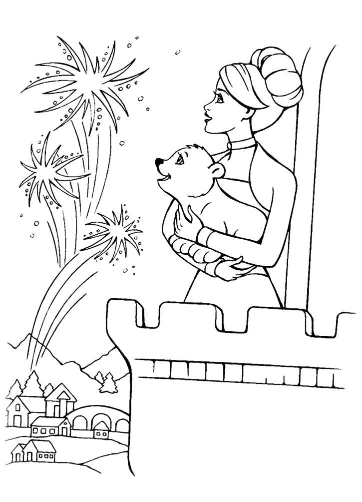 Раскраска Раскраска Барби смотрит салют. барби