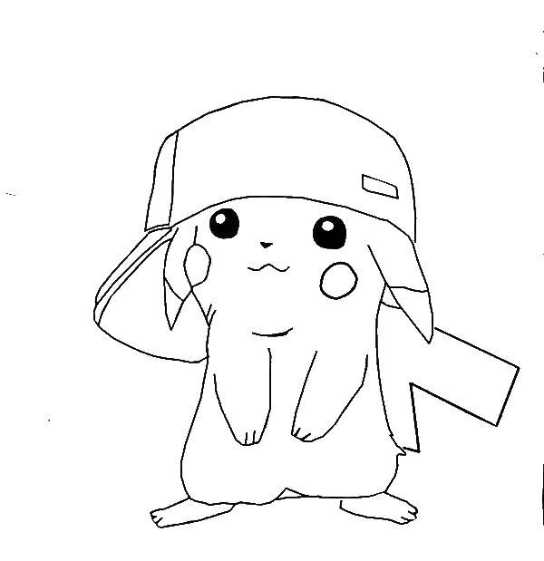 Раскраски пикачу, Раскраска Пикачу в кепочке покемон.