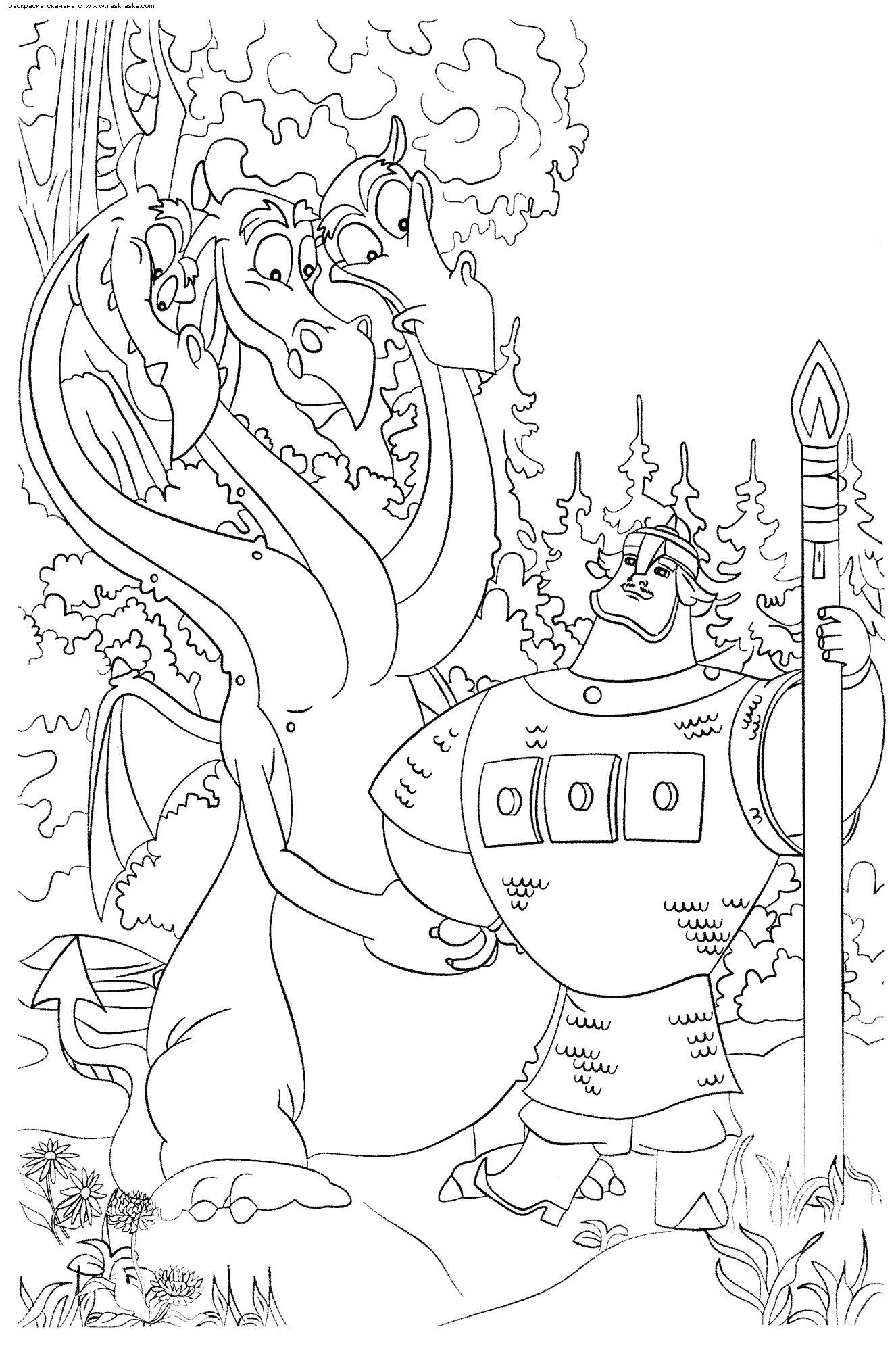 Раскраски три богатыря, Раскраски для девочек и мальчиков.