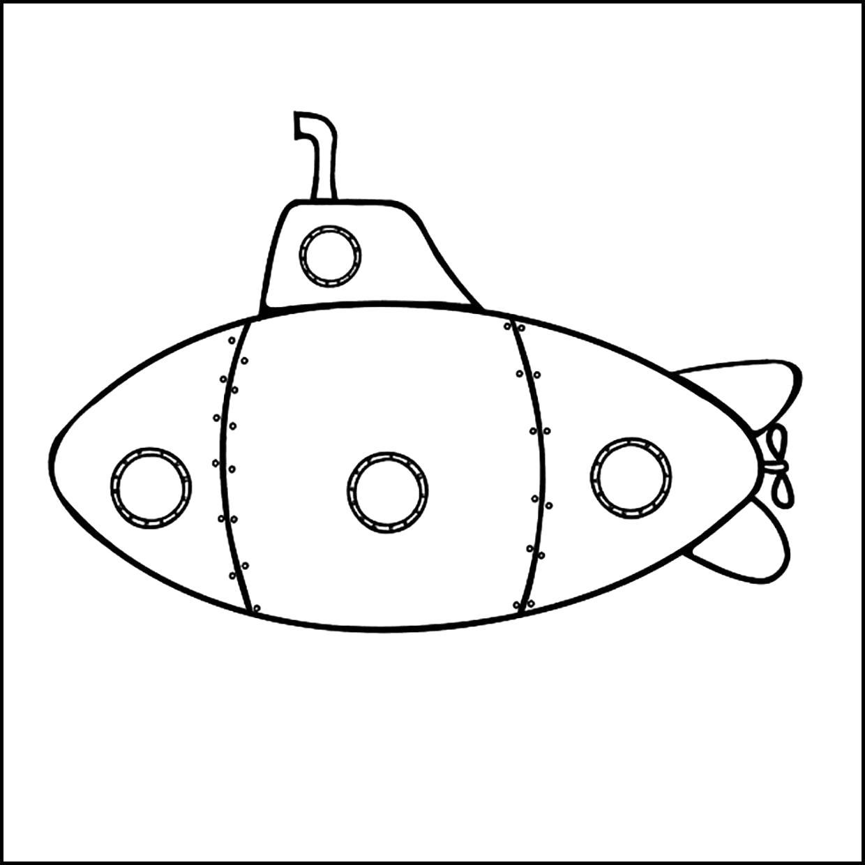 Раскраска Раскраска подводная лодка. 23 февраля