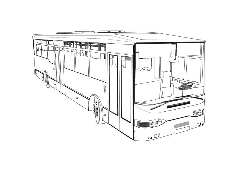 Раскраска Пассажирский автобус. Автобус