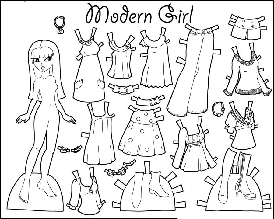 Раскраска  кукла одежда для девочки одежда для куклы бумажная кукла. Скачать одень куклу.  Распечатать одень куклу
