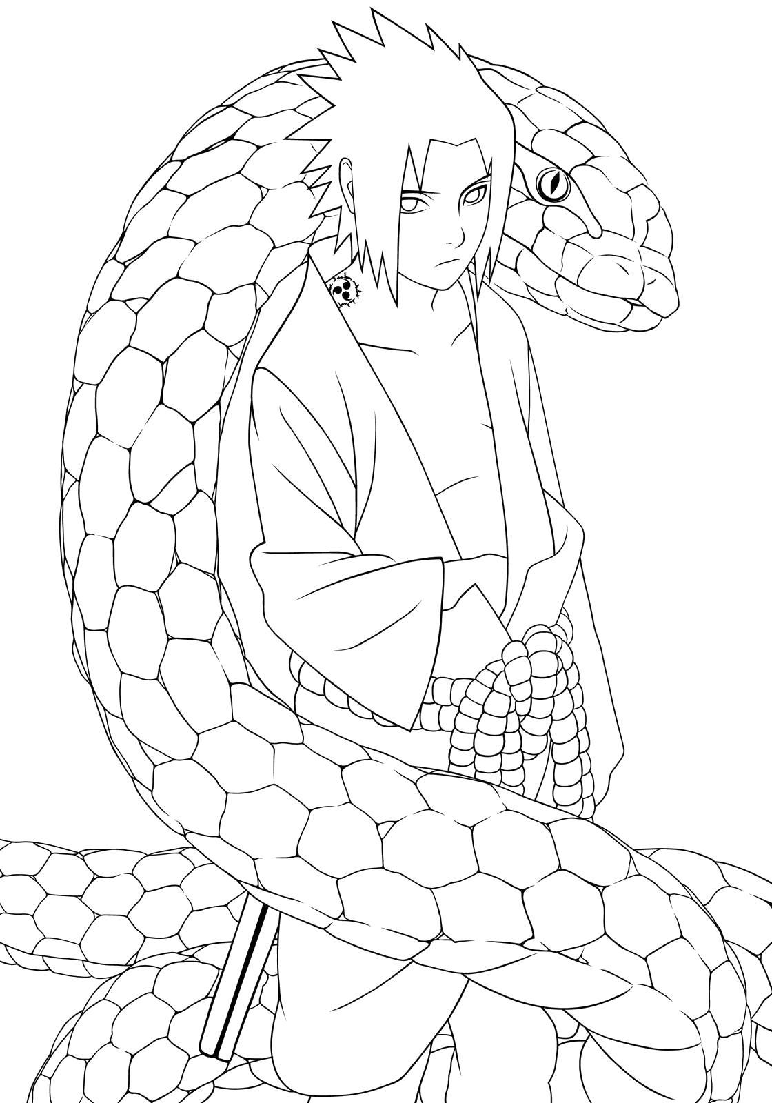 Раскраска Саске и змей. Скачать наруто.  Распечатать наруто