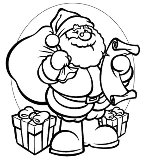 Название: Раскраска Санта читает письма. Категория: . Теги: .