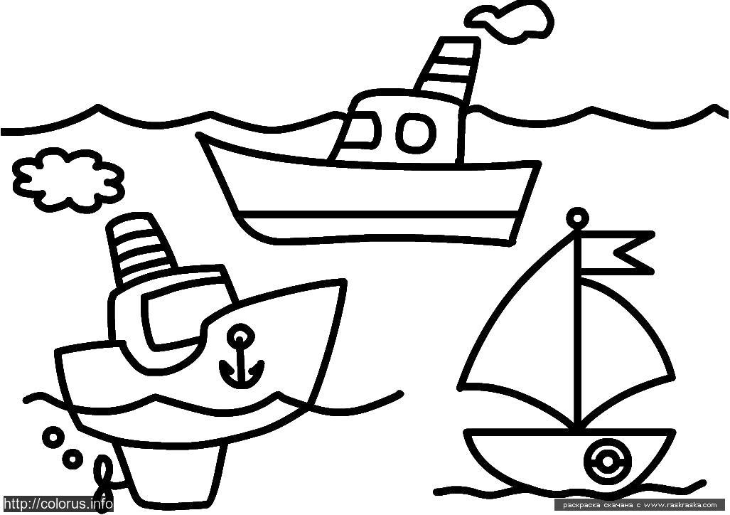 Раскраска  Кораблики.  Простая  корабли,  для малышей кораблики. Скачать Кораблик.  Распечатать Кораблик