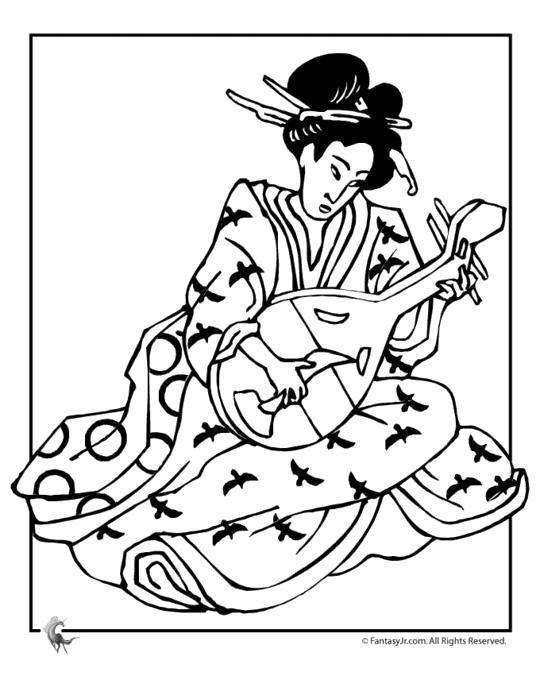 Раскраска Гейша и музыкальный инструмент.