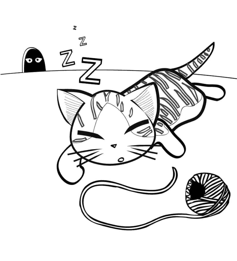 Раскраска Уставший котик. Домашние животные