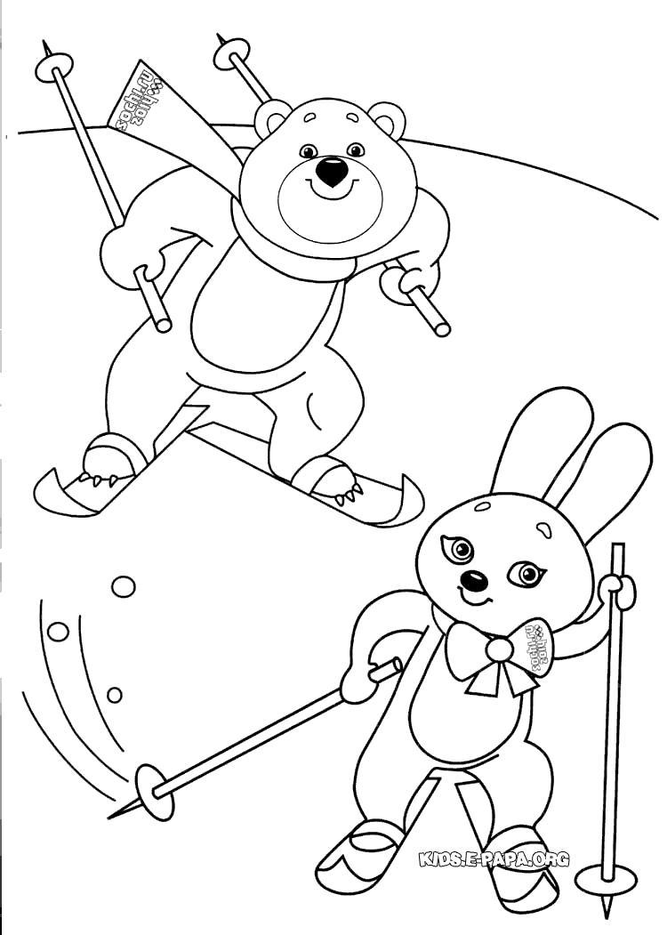 Раскраска Мишка и Зайка. Зайка