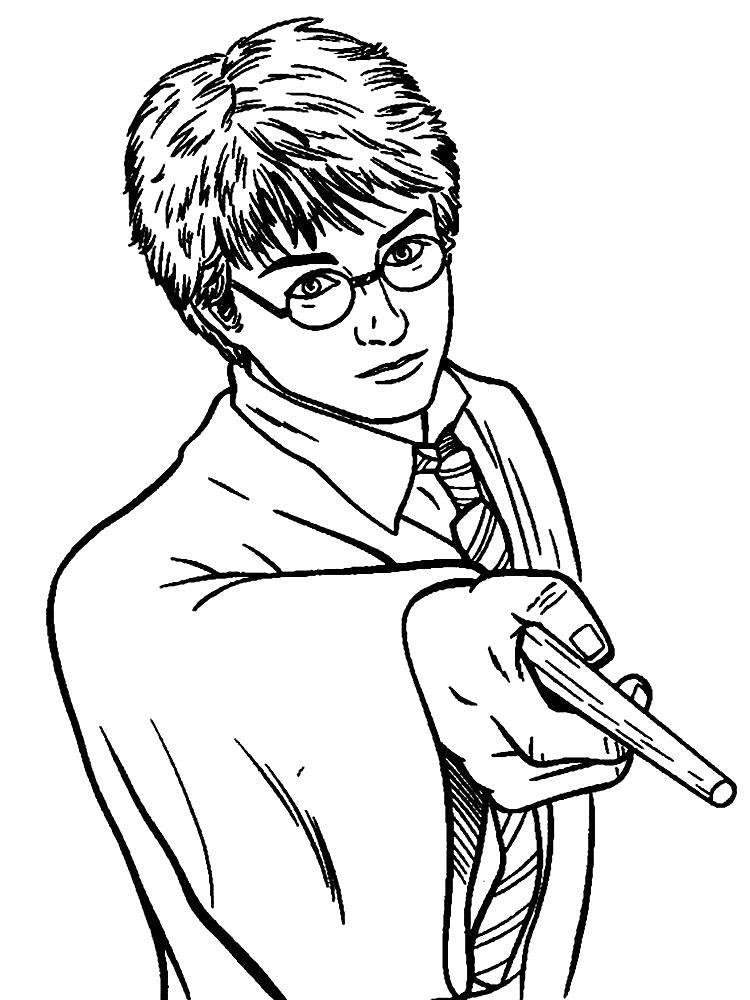Раскраска Гарри волшебник. Скачать гарри поттер.  Распечатать гарри поттер
