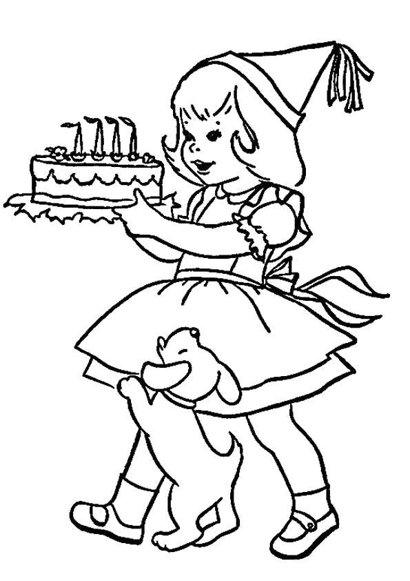Раскраска День рождения, девочка несет торт, собачка, . Скачать День рождения.  Распечатать День рождения