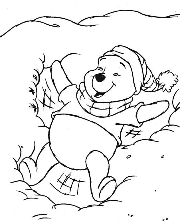 Раскраска Зима у Винни. Герои Диснея