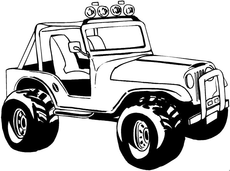 Раскраска Машина, Джип, Машина с открытым верхом. Скачать Транспорт.  Распечатать Транспорт