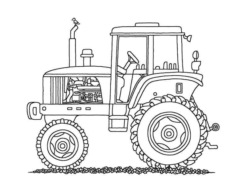 Раскраска Строительная техника. Скачать трактор, строительная техника.  Распечатать для мальчиков