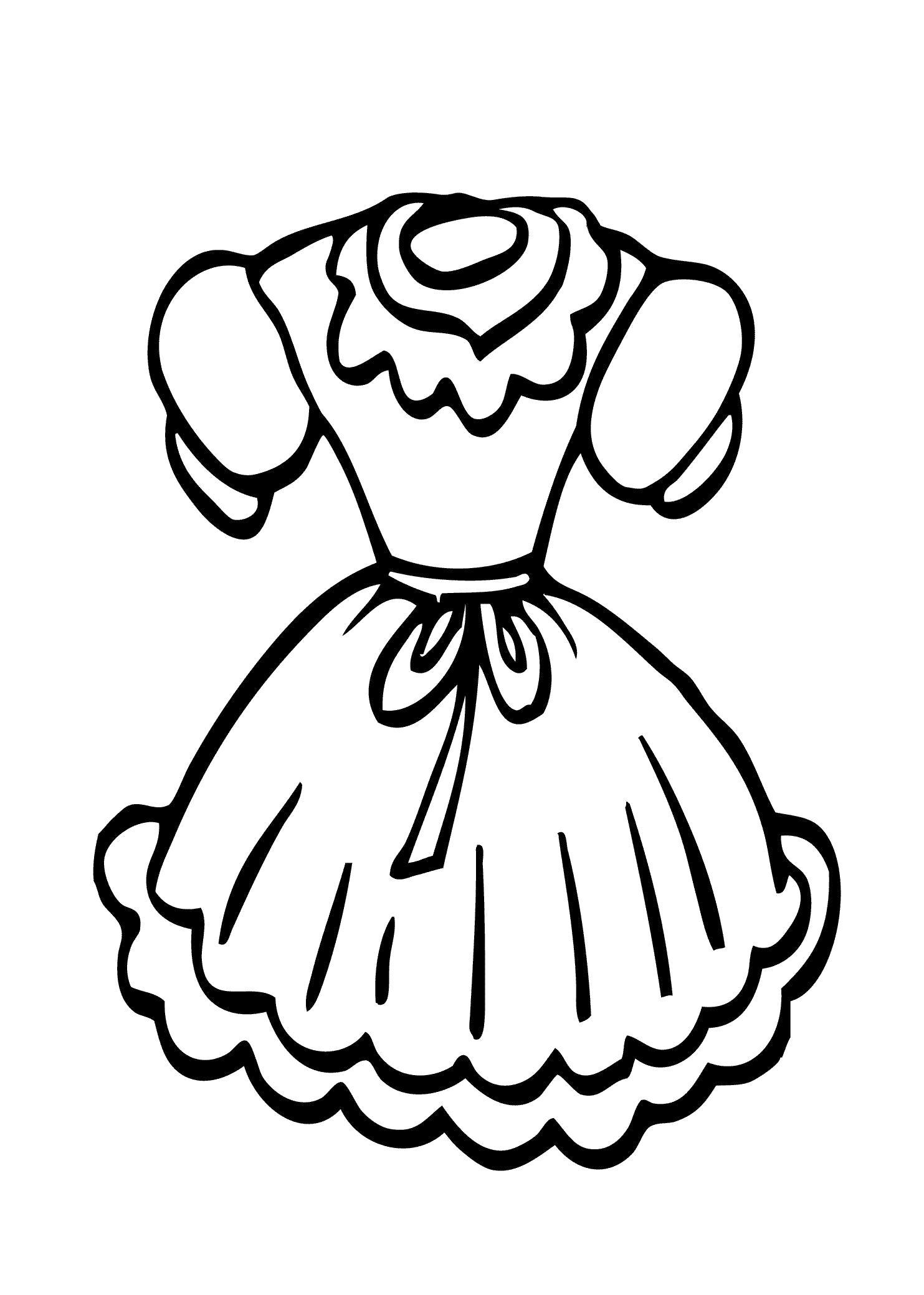 Раскраска  платье. Скачать платье.  Распечатать Для девочек