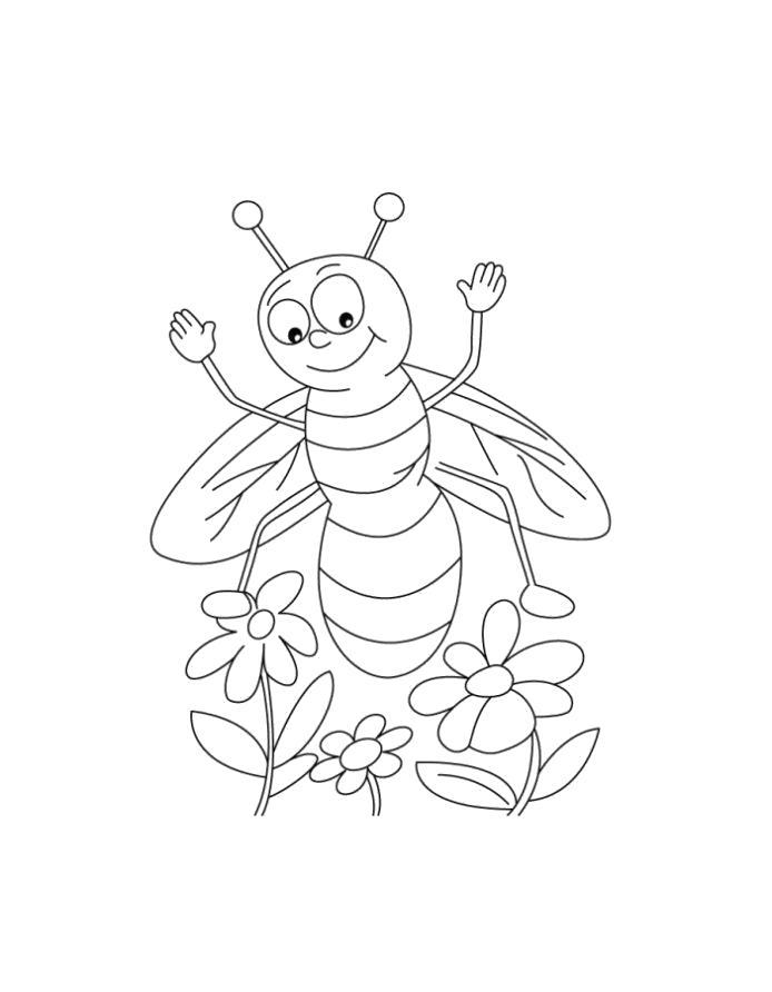 Картинка пчелка на цветке рисунок