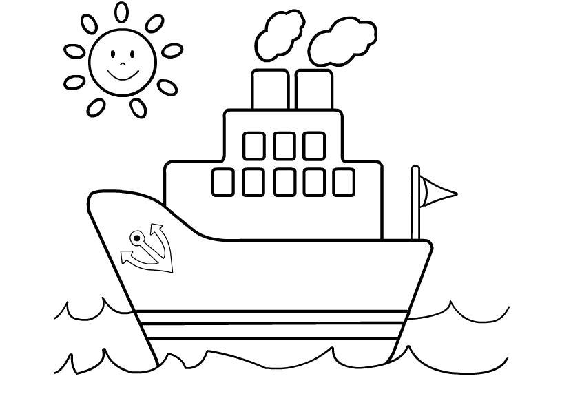 Раскраска  для малышей скачать бесплатно, распечатать. Скачать Кораблик.  Распечатать Кораблик