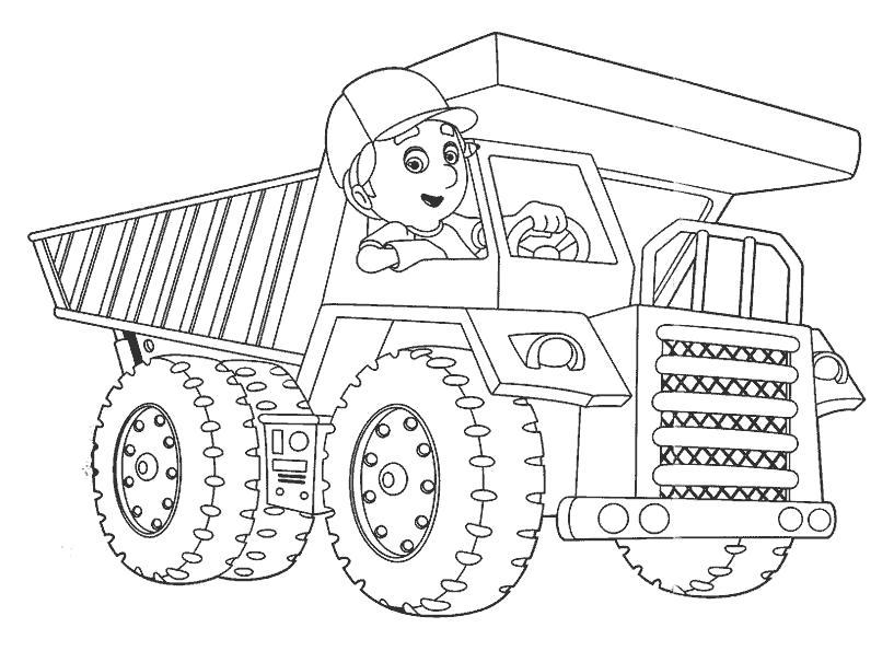 Раскраска Большие машины  детские . Скачать строительная техника.  Распечатать для мальчиков