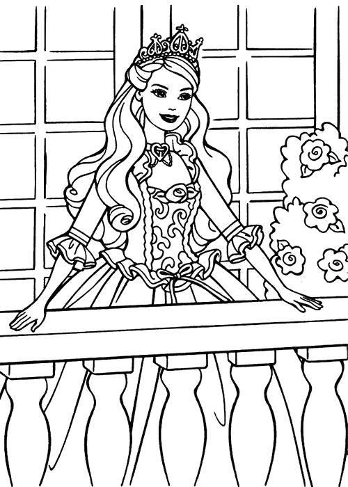 Раскраска Принцесса Барби. Скачать принцесса.  Распечатать принцесса