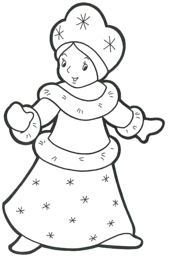 Раскраска Красивая куколка снегурочка. Снегурочка