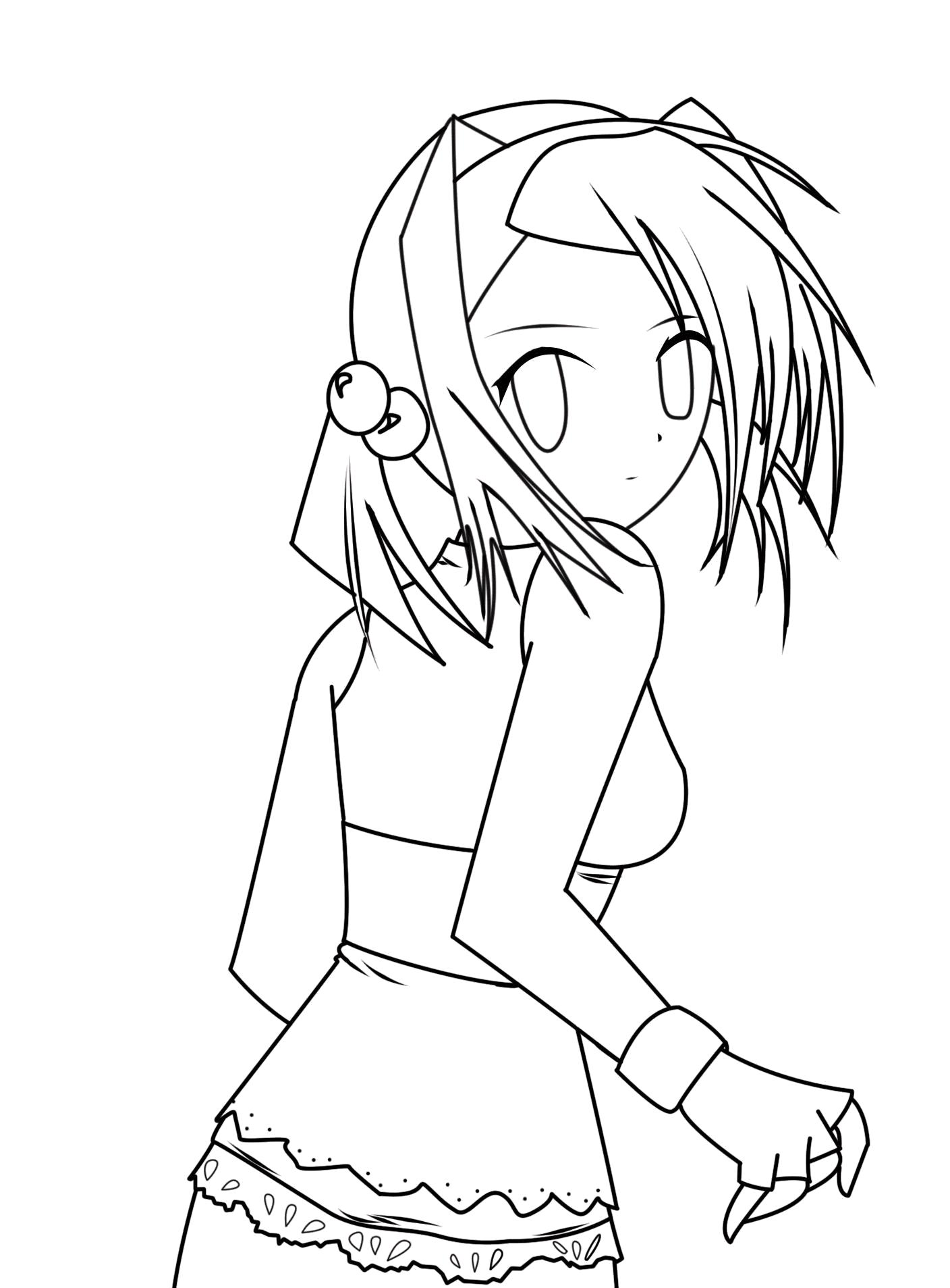 Раскраска  аниме девушки. Скачать Аниме.  Распечатать Аниме
