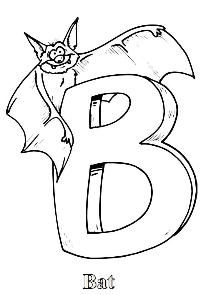 Раскраска  буква b-bat. буква