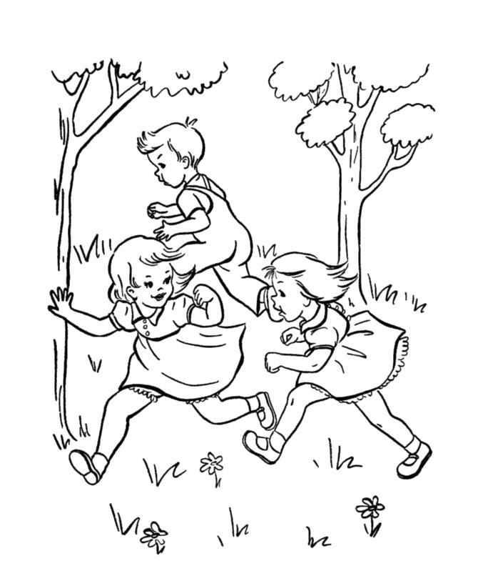 Раскраска  дети играют в  прятки,  дети играют в догонялки  . Скачать Лето.  Распечатать Лето