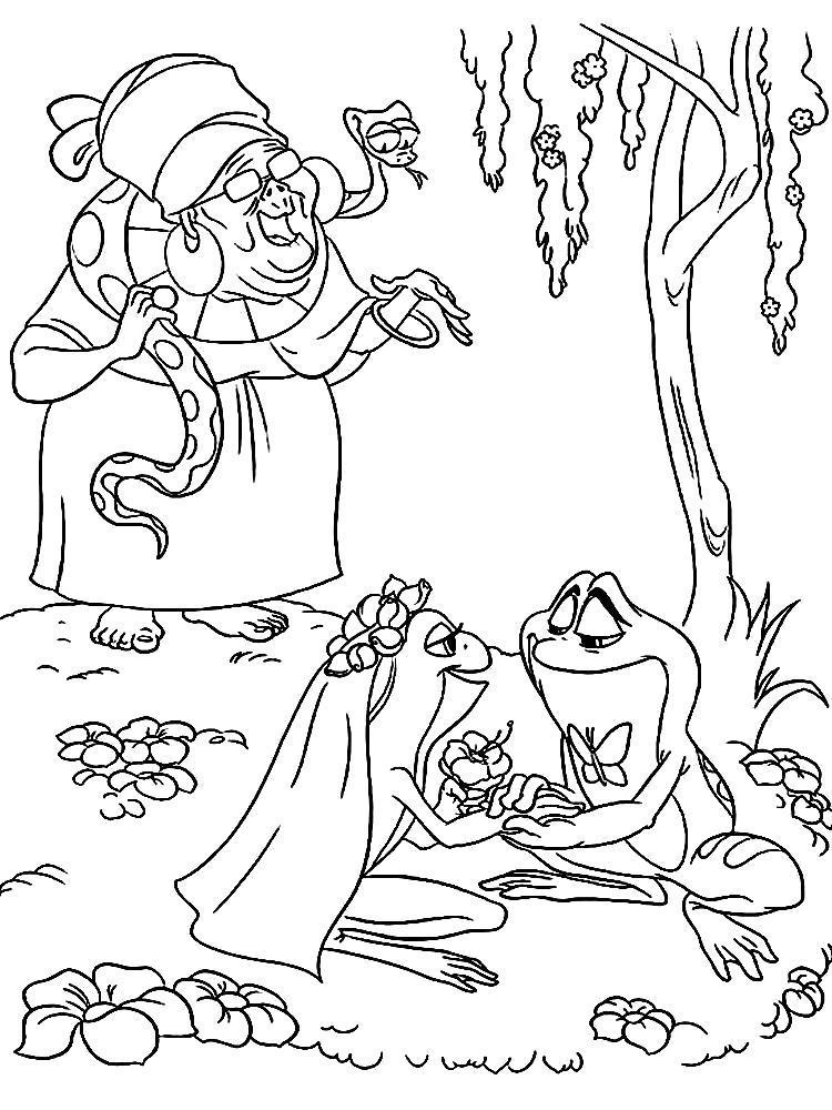 Раскраска Принцесса лягушка. Скачать .  Распечатать