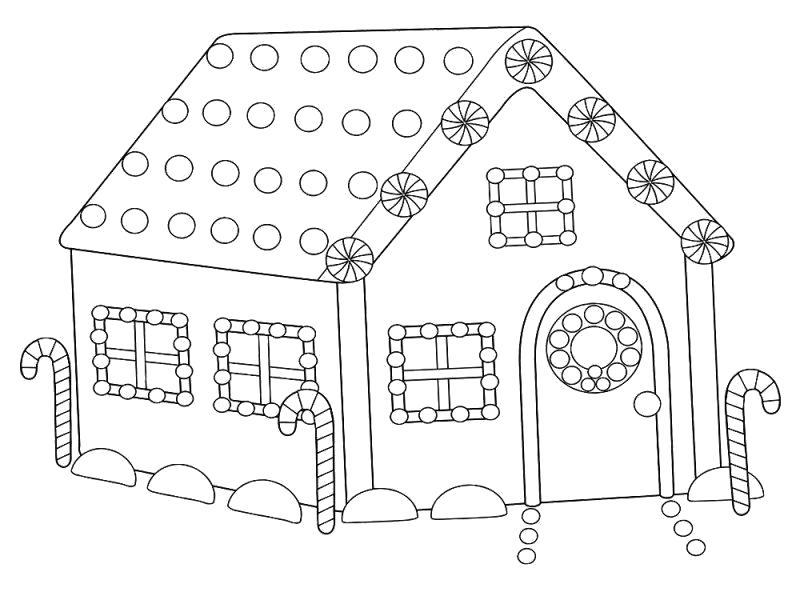 Раскраска  домик, домик с украшениями, новогодний домик. Скачать Дом.  Распечатать Дом