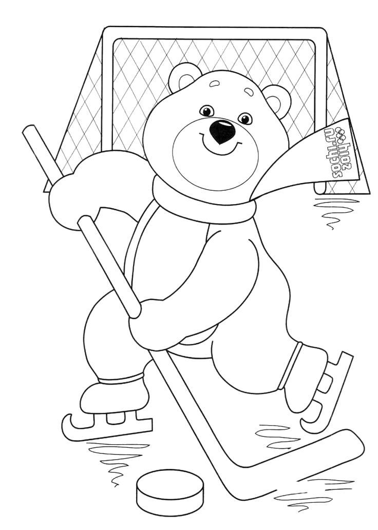 Раскраска  олимпиада для девочек, Мишка играет в хоккей, . Скачать Мишка.  Распечатать Мишка
