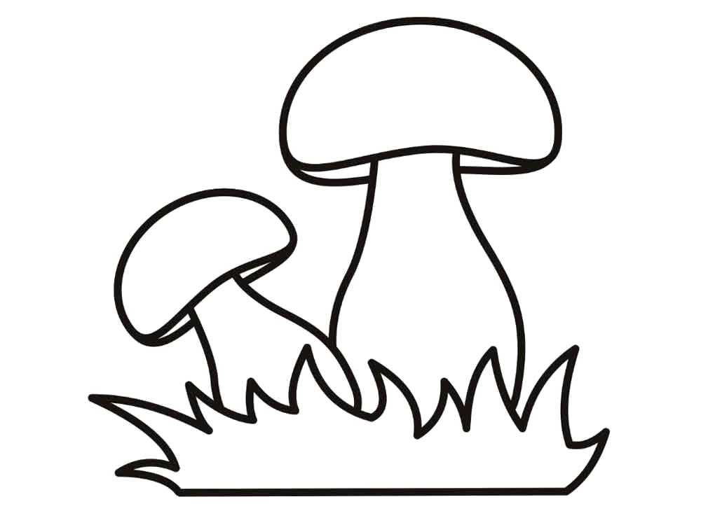 Раскраска гриб контур для аппликации. гриб