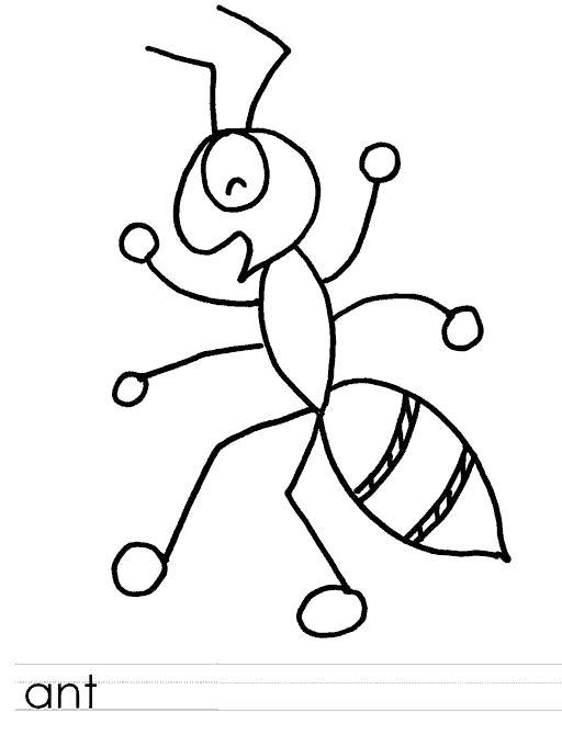 Раскраска ant пропись английская муравей. Муравей