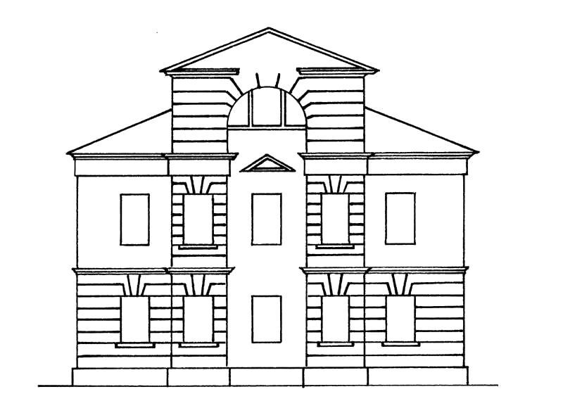 Раскраска  домик, большой дом, двухэтажный дом,  фасад дома. Скачать Дом.  Распечатать Дом