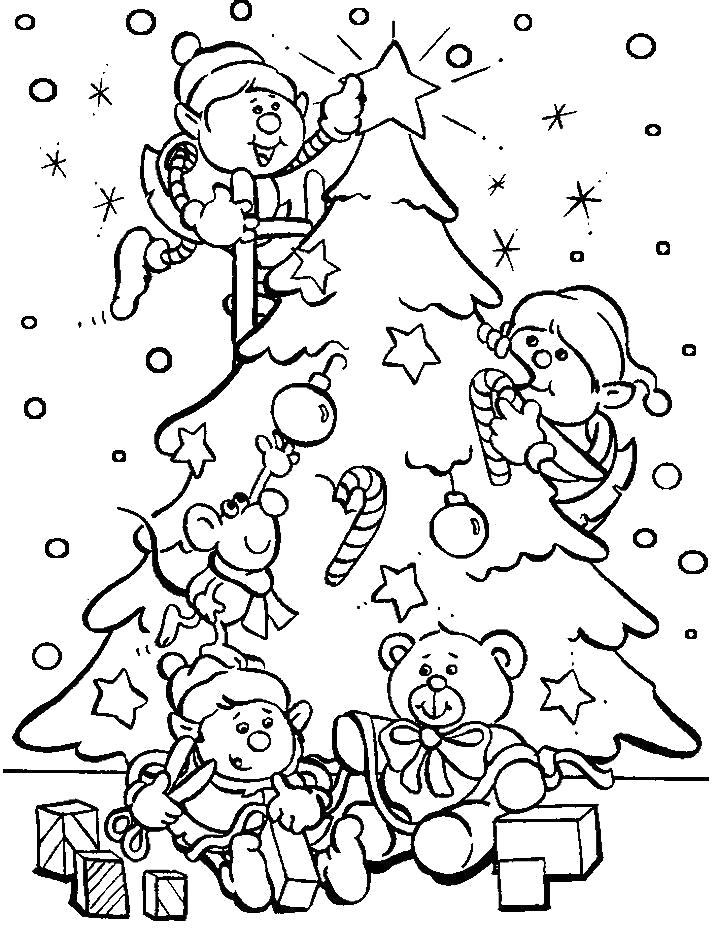 Раскраска Рисунки и картинки  новогодние, гномы украшают елку, . Скачать новогодние.  Распечатать новогодние