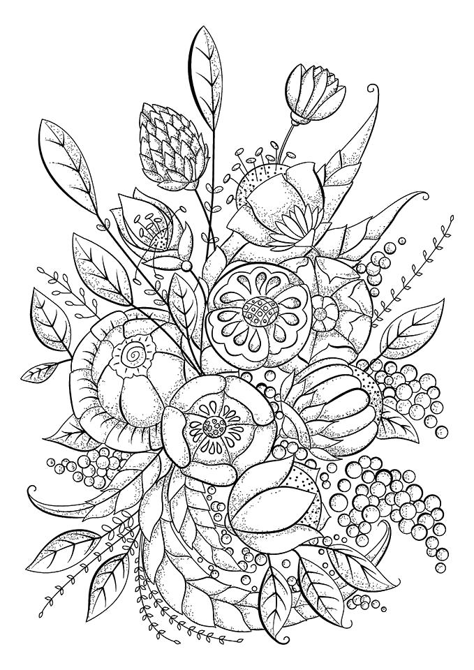 Раскраска  для взрослых, цветы. Скачать узоры, цветы, для взрослых.  Распечатать антистресс
