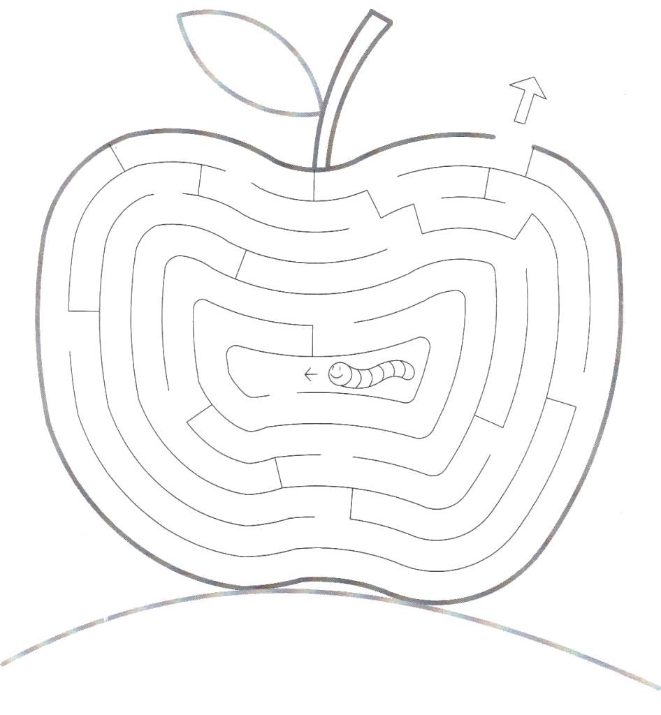 Раскраска помоги червяку придти к финишу, лабиринт червяк и яблоко. Скачать лабиринт.  Распечатать лабиринт