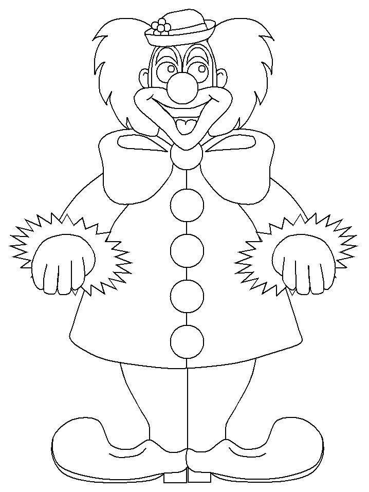 Раскраска весёлый клоун. Скачать клоун.  Распечатать клоун