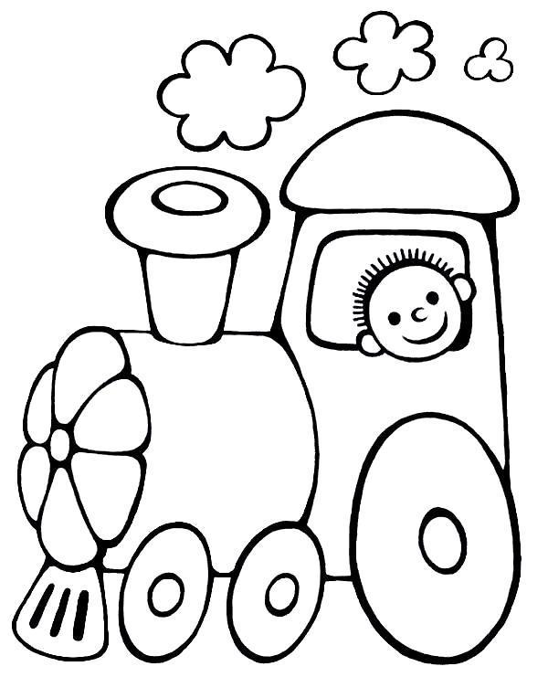 Раскраска Мальчик на паровозике.