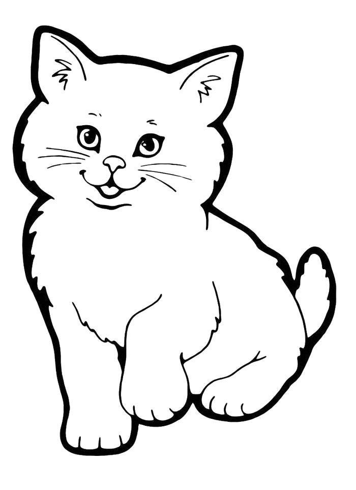 Раскраски кошка, Раскраска Милый котенок кошка.