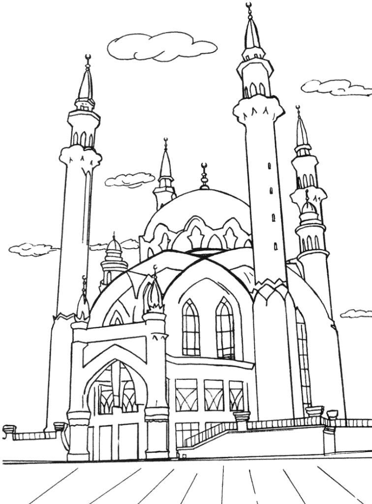 Раскраска Мечеть. Скачать Мечеть.  Распечатать Мечеть