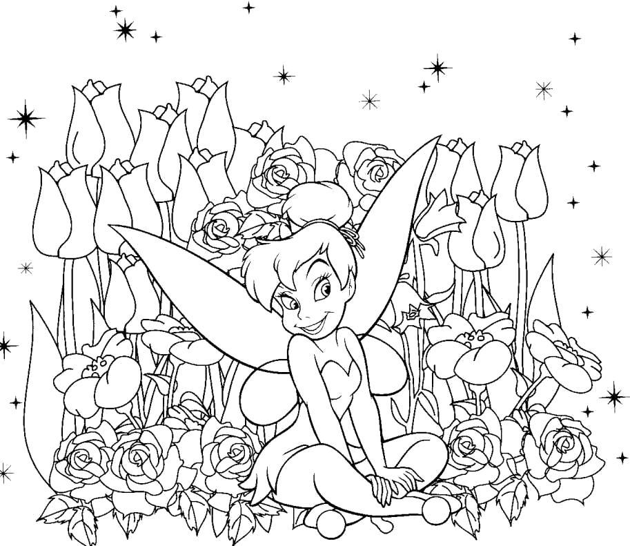 Раскраска Динь - Динь в тюльпанах. Динь Динь